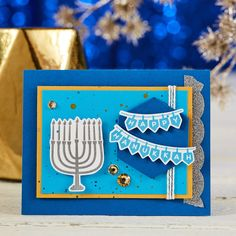 Menorah's Glow Stamp Set from Fun Stampers Journey is perfect for handmade stamp… Menorah's Glow Stamp Set from Fun Stampers Journey is perfect for handmade stamped cards to celebrate Hanukkah Feliz Hanukkah, Hanukkah Cards, Christmas Hanukkah, Happy Hanukkah, Handmade Christmas, Hannukah, Handmade Stamps, Handmade Crafts, Holiday Cards