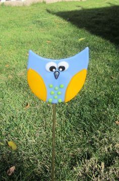 Fused Glass Blue and Gold Owl Garden Stake www.ebay.com/usr/MattsGlassact
