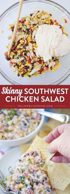 Skinny Southwest Chicken Salad - Made with tons of healthy veggies and a creamy .,Healthy, Many of these healthy H E A L T H Y . Skinny Southwest Chicken Salad - Made with tons of healthy veggies and a creamy and flavorful Greek Yogurt dress. How To Make Salad, Food To Make, Healthy Cooking, Cooking Recipes, Easy Recipes, Vegan Recipes, Skinny Recipes, Recipes Dinner, Meal Prep Recipes