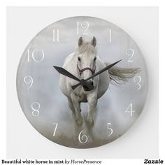 Beautiful white horse in mist large clock Large Clock, Wall Clocks, Diy Face Mask, Hand Coloring, Dog Design, Party Hats, Funny Cute, Mists, Camouflage