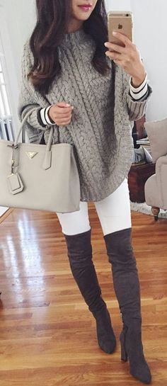 cool fall outfit idea : bag + stripped top + knit grey poncho + white skinnies + over the knee boots #cluboutfits