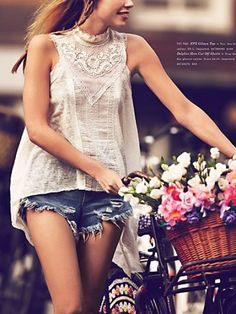 Breezy biking with flowers #style #fashion For more tips + ideas, visit www.makeupbymisscee.com
