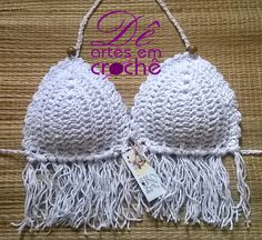 Sutiã de Bikini em Barbante Franjado by Dê Artes em Crochê [www.deartesemcroche.com.br]