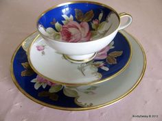 RUDOLF WACHTER (RW) Bavaria rose cup saucer and plate pink gold cobalt blue gorgeous trio..