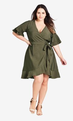 Flounce Sleeve Dress khaki - Plus Size Wedding Guest Dresses - Ideas of Plus Size Wedding Guest Dresses - Shop Women's Plus Size Flounce Sleeve Dress khaki Clothing Plus Size Wedding Guest Dresses, Plus Size Cocktail Dresses, Plus Size Dresses, Dressy Dresses, Elegant Dresses, Party Dresses, Dresser, Cocktail Bridesmaid Dresses, Front Knot Dress