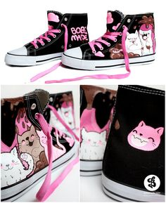 Even though chocolate is poisonous to cats, that doesn't stop this design from being super adorable and playful. This style of illustration is contemporary and is charming because of its simplicity. The pink laces and the pink throughout work well to communicate a sillier, more youthful tone.