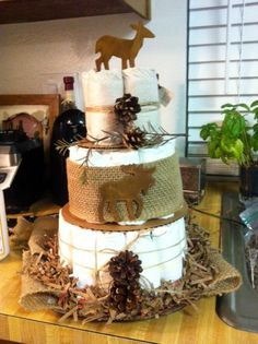 Made this for my daughter's Rustic baby shower Rustic Diaper cake. Made especially for Veronika Almeida.