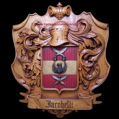 Wood carving, family crest, basswood
