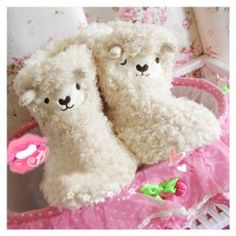 $12.51 Winter Essential Lovely Cartoon Lamb Patterns Warmly and Comfortable High-Top Slippers For Women