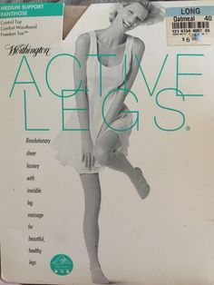 Vintage Worthington Active Legs Control Top Pantyhose Oatmeal Size Long  | eBay