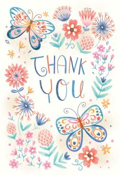 Spring butterflies - Thank You Card #greetingcards #printable #diy #thankyou #notes #thanks Thank You Wishes, Thank You Greetings, Thank You Notes, Thank You Cards, Happy Birthday Images, Happy Birthday Cards, Birthday Greetings, Birthday Wishes, Thank You Typography