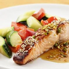 Honey-Soy Broiled Salmon 500 calorie dinners week 2 from Eating Well