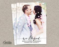 Elopement Announcement Card Printable We Eloped Photo Wedding Cards Modern Calligraphy Surprise Marriage