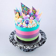 unicorn cheesecake on cake stand - katherine sabbath interview on coco cake land!