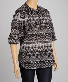 Look at this #zulilyfind! Christine V Black & Charcoal Geometric Three-Quarter Sleeve Top - Plus by Christine V #zulilyfinds