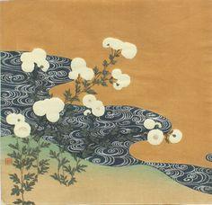 TSUKIOKA Kōgyo(月岡 耕漁 Japanese, 1869-1927) Chrysanthemums along a stream 1900 detail