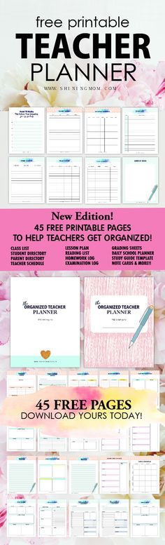 You can't believe this printable teacher planner is for free! Get the over 45 excellent planners and get organized in school once and for all! #teacherplanner #teachers #freeprintable #school #backtoschool