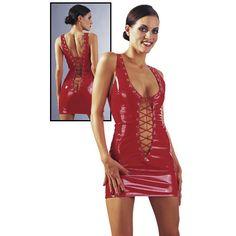 Sexy rood lak jurkje - Rood Mini-Jurkje Dit schitterende mini-jurkje is gemaakt van glanzende knal-rode lak(50% Polyester, 50% Polyurethan), met opvallende, extra diepe uitgesneden vetersluitingen, zowel voor als achter!!!