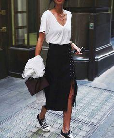 a948982594c8 White tee    converse street chic    lace up skirt    simple style. Tatjana