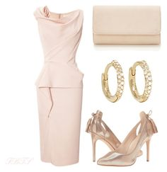 Soft & Beautiful by flybeyondtheskies on Polyvore featuring Marchesa, Nine West and Jennifer Meyer Jewelry
