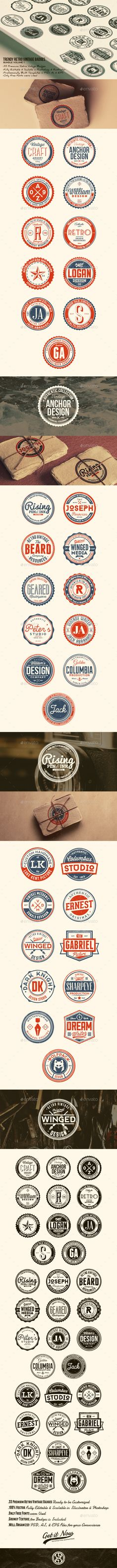 33 Trendy Retro Vintage Badges Bundle Volume 1 - Badges & Stickers Web Elements