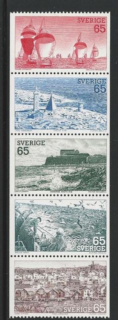 Sweden - 1974 Sailboats, Fishing, Lighthouse stamps