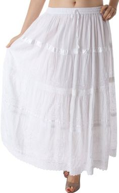 Sakkas 554 Solid Embroidered Gypsy / Bohemian Full / Maxi / Long Cotton Skirt - White / One Size Sakkas http://www.amazon.com