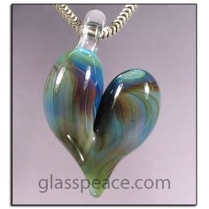 SALE Blue and Green Glass Heart Pendant - Hand Blown Glass Jewelry by Glass Peace $10.00
