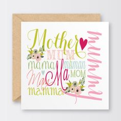 'Words For Mum' Mother's Day Card £2.50