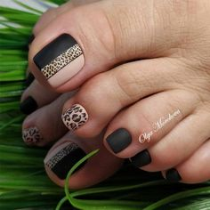 24 Eye Catching Toe Nail Art Ideas You Must Try Matte Toe Nails With Leopard Art ★ Keeping your toes immaculate is as important as taking care of your fingernails, and these to Fall Toe Nails, Pretty Toe Nails, Cute Toe Nails, Summer Toe Nails, Gel Nails, Acrylic Nails, Spring Nails, Fall Pedicure, Toe Nail Art
