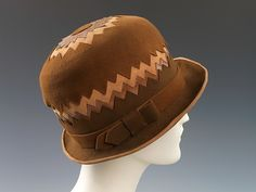 Cloche | House of Poiret | French | 1923 | wool, leather, silk | Brooklyn Museum Costume Collection at The Metropolitan Museum of Art | Accession Number: 2009.300.2111