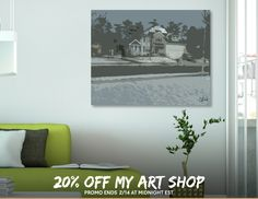 Discover «Snowy Neighborhood», Exclusive Edition Canvas Print by Casey Bell - From $59 - Curioos