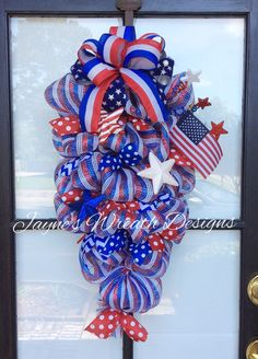 Patriotic door swag/wreath. Great for Memorial Day, Veterans Day, and 4th of July