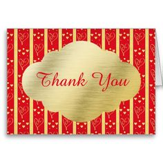 Elegant Red and Gold Valentine's Wedding Thank You Card