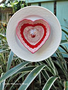 Heart Plate Flower Garden Whimsy Pink and by GardenWhimsiesByMary
