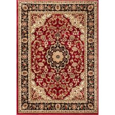Noble Medallion Red Persian Floral Oriental Formal Traditional Area Rug x Easy to Clean Stain Fade Resistant Shed Free Modern Contemporary Transitional Soft Living Dining Room Rug Red Rugs, Kashan Rug, Well Woven, Dining Room Rug, Red Traditional Rugs, Rugs, Colorful Rugs, Polypropylene Rugs, Traditional Area Rugs