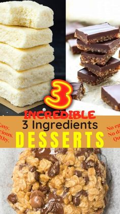 Homemade Desserts, Healthy Dessert Recipes, Easy Desserts, Crack Bars Recipe, 3 Ingredient Desserts, Oatmeal Breakfast Cookies, 3 Ingredients, Quick Easy Meals, Food Processor Recipes