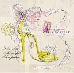 Art In Motion, Barbara Lindner Vintage Images, Vintage Art, Vintage Shoes, Vintage Prints, Shoe Poster, Art Carte, Princess Shoes, Shoe Art, Shoe Shoe