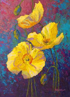 Yellow Poppies Painting by Marion Rose - Yellow Poppies Fine Art Prints and Posters for Sale