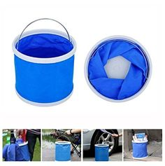 Blue Fishing Boating Camping Car Wash Clean Portable 11L Folding Water Bucket -- Awesome products selected by Anna Churchill