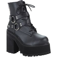 Pleaser Demonia By Pleaser Assault 101 Platform Ankle Boots ($101) ❤ liked on Polyvore featuring shoes, boots, ankle booties, black booties, ankle boots, black lace-up boots, lace up platform bootie and black lace up booties