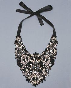 black and studded bib statement necklace