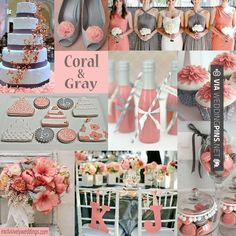 Wedding Colour Schemes 2017 – Coral and gray works for most wedding dates but works especially well in late summer and early fall. | #exclusivelyweddings | All of our color stories can be found here: