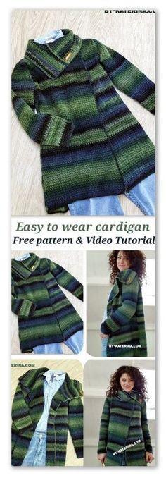 Easy to wear cardigan. Free crochet pattern – Alma Wancura Easy to wear cardigan. Free crochet pattern easy to wear cardigan Gilet Crochet, Crochet Gratis, Black Crochet Dress, Crochet Poncho, Crochet Sweaters, Crochet Shrugs, Crochet Jumpers, Mode Crochet, Crochet Baby