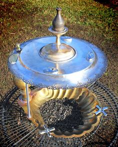 Repurposed Upcycled Recycled Bird Feeder Valet of Brass Silverplate Candlestick Vintage Found Items. $225.00, via Etsy.