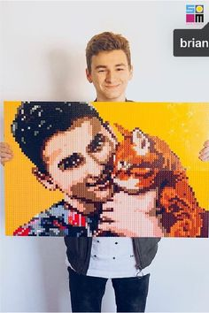 LEGO-like Photo Mosaic Portrait Wedding Gift \u2014 Customized DIY Pixel Art