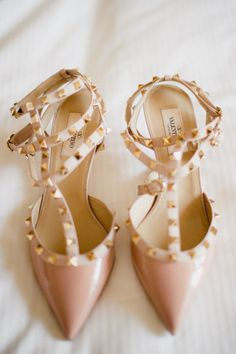 Valentino studded heels in nude