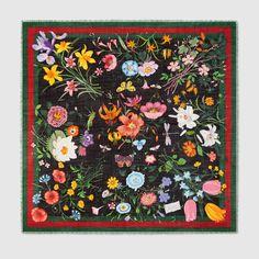 Flora Web print wool silk shawl