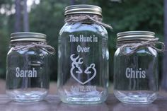 3 Piece Engraved Personalized mason jar sand ceremony set, Deer and Doe heart, Personalzied Sand Ceremony Set, Wedding Ceremony Set Beach Mason Jars, Fall Mason Jars, Quart Mason Jars, Camo Wedding, Trendy Wedding, Rustic Wedding, Wedding Ideas, Wedding Stuff, Wedding Things