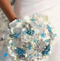 Combo White Fresh Florals + Teal & Crystal Brooch Wedding Bouquet